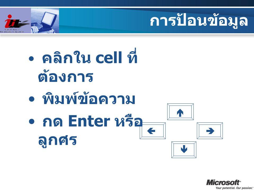 การป้อนข้อมูล คลิกใน cell ที่ ต้องการ พิมพ์ข้อความ กด Enter หรือ ลูกศร    