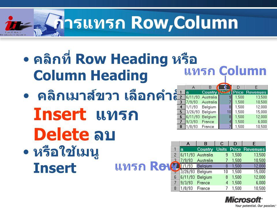 การแทรก Cell เลือก Cell หรือ Row /Column ที่จะแทรก เลือกเมนู Insert-Cell หรือ คลิกขวา เลือกการแทรกจากกรอบ โต้ตอบ แทรกและขยับ cell ที่เลือกไปทางขวา แทรกและขยับ cell ที่เลือกลงข้างล่าง แทรกทั้งแถว row แทรกทั้งคอลัมน์ column