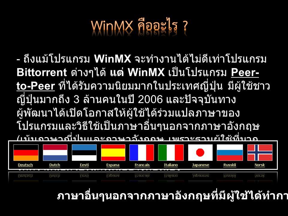 - ถึงแม้โปรแกรม WinMX จะทำงานได้ไม่ดีเท่าโปรแกรม Bittorrent ต่างๆได้ แต่ WinMX เป็นโปรแกรม Peer- to-Peer ที่ได้รับความนิยมมากในประเทศญี่ปุ่น มีผู้ใช้ชาว ญี่ปุ่นมากถึง 3 ล้านคนในปี 2006 และปัจจุบันทาง ผู้พัฒนาได้เปิดโอกาสให้ผู้ใช้ได้ร่วมแปลภาษาของ โปรแกรมและวิธีใช้เป็นภาษาอื่นๆนอกจากภาษาอังกฤษ ( เน้นภาษาญี่ปุ่นและภาษาอังกฤษ เพราะฐานผู้ใช้ที่มาก ที่สุดคือชาวญี่ปุ่น ) แสดงให้เห็นว่า ยังคงมีผู้สนับสนุนและ ให้ความนิยมโปรแกรมนี้อย่างต่อเนื่อง ภาษาอื่นๆนอกจากภาษาอังกฤษที่มีผู้ใช้ได้ทำการแปลไว้