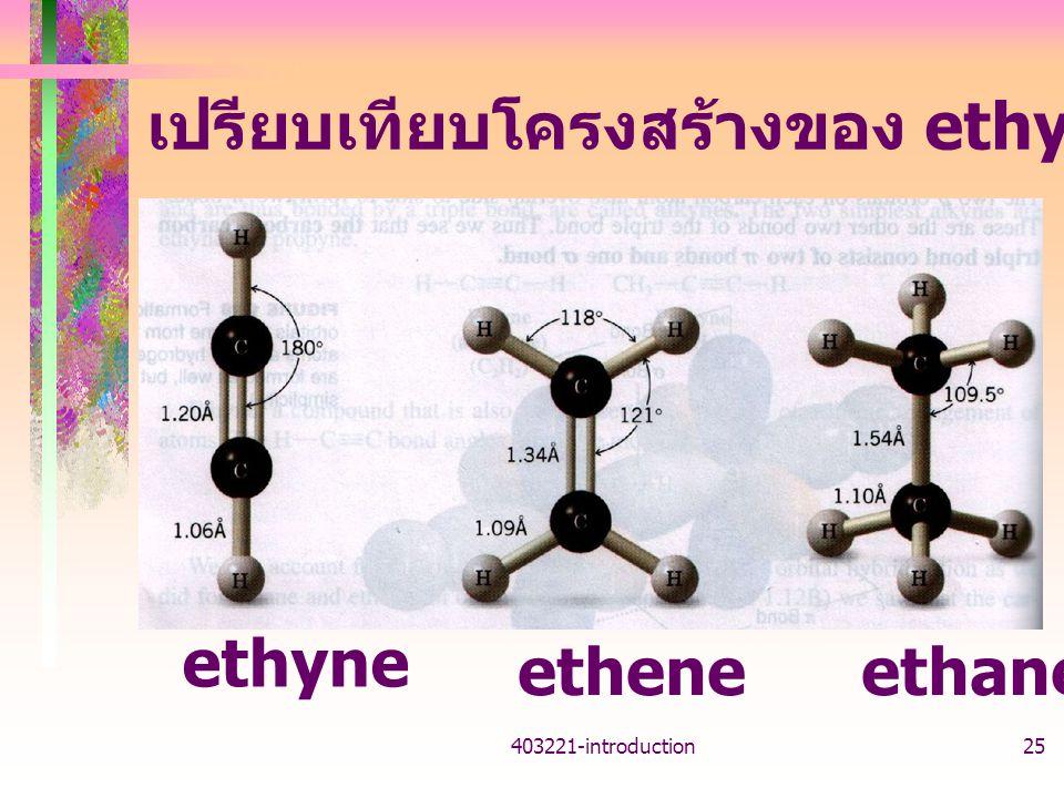 403221-introduction25 เปรียบเทียบโครงสร้างของ ethyne ethene ethane ethyne etheneethane