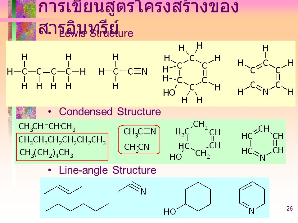 403221-introduction26 การเขียนสูตรโครงสร้างของ สารอินทรีย์ Lewis Structure Condensed Structure Line-angle Structure