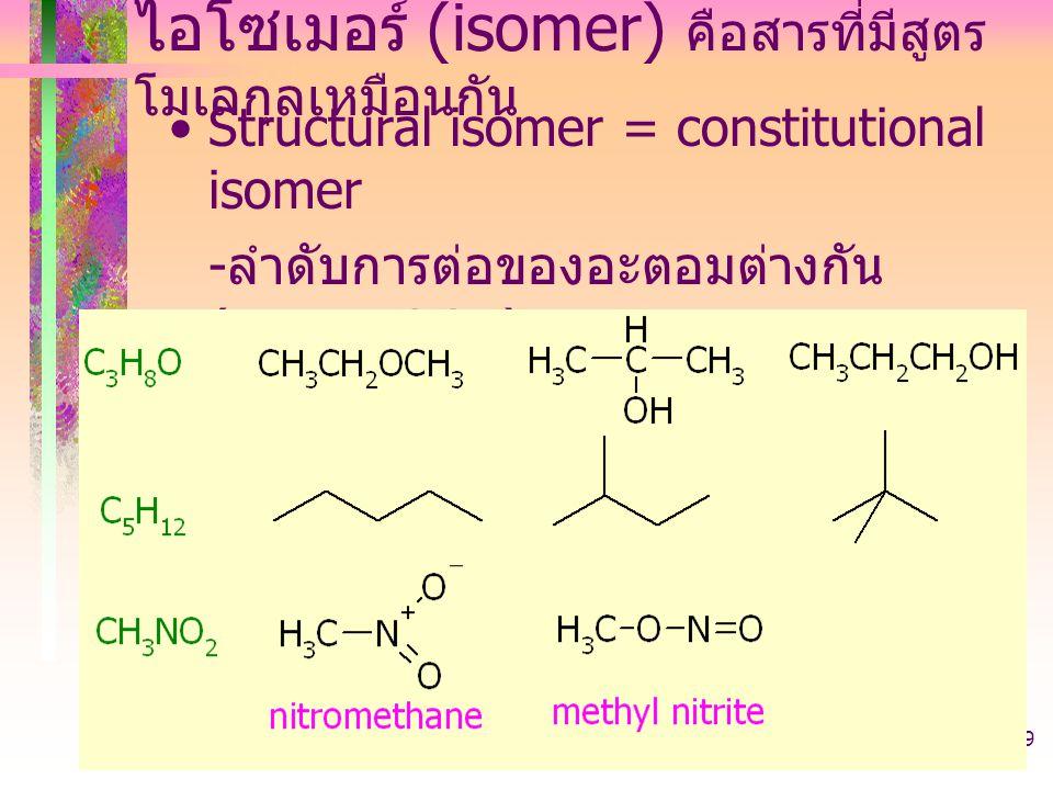 403221-introduction39 ไอโซเมอร์ (isomer) คือสารที่มีสูตร โมเลกุลเหมือนกัน Structural isomer = constitutional isomer - ลำดับการต่อของอะตอมต่างกัน (conn