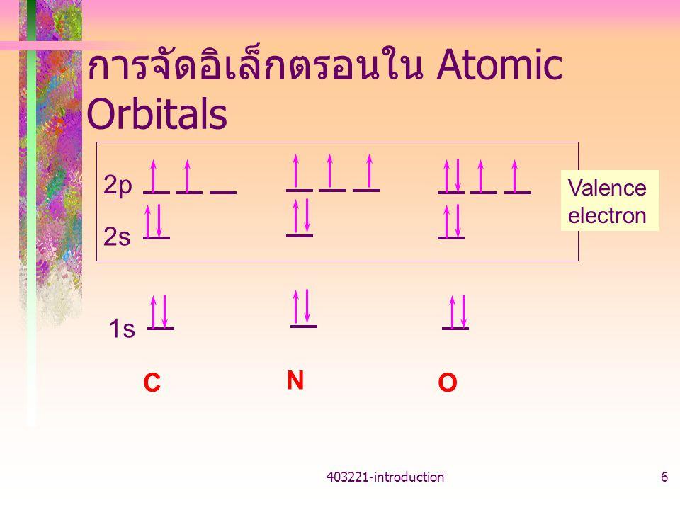 403221-introduction6 การจัดอิเล็กตรอนใน Atomic Orbitals 1s 2p 2s C N O Valence electron