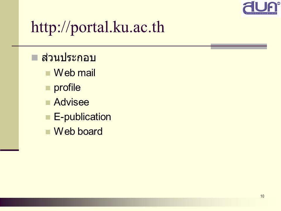 10 http://portal.ku.ac.th ส่วนประกอบ Web mail profile Advisee E-publication Web board