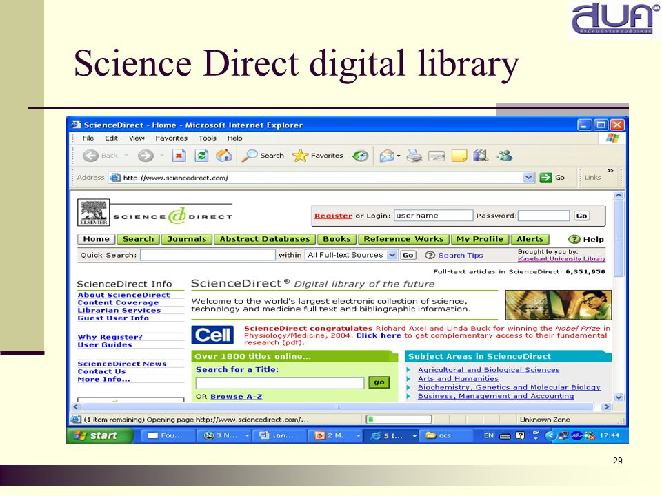 29 Science Direct digital library