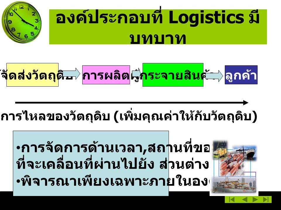 องค์ประกอบที่ Logistics มี บทบาท ผู้จัดส่งวัตถุดิบ การผลิต ผู้กระจายสินค้า ลูกค้า การไหลของวัตถุดิบ ( เพิ่มคุณค่าให้กับวัตถุดิบ ) การจัดการด้านเวลา, สถานที่ของวัตถุ ที่จะเคลื่อนที่ผ่านไปยัง ส่วนต่าง ๆ พิจารณาเพียงเฉพาะภายในองค์การ