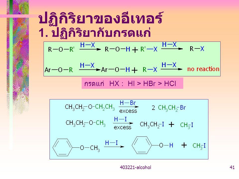 403221-alcohol41 ปฏิกิริยาของอีเทอร์ 1. ปฏิกิริยากับกรดแก่ กรดแก่ HX : HI > HBr > HCl