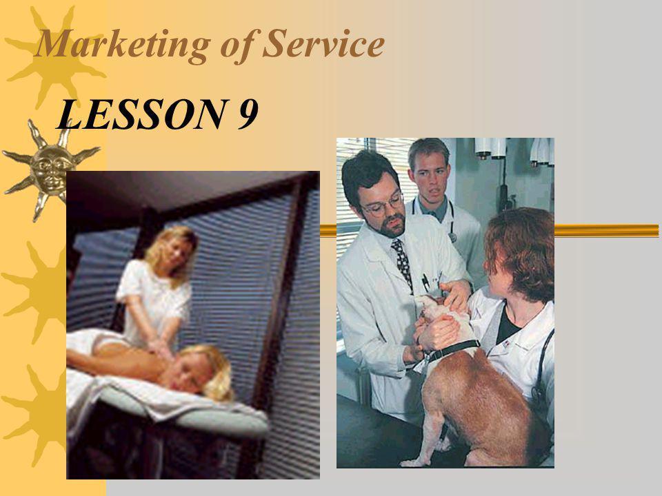 Marketing of Service LESSON 9