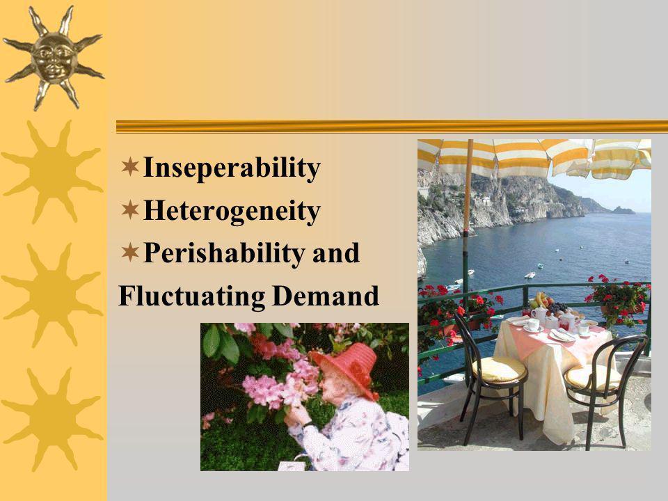  Inseperability  Heterogeneity  Perishability and Fluctuating Demand