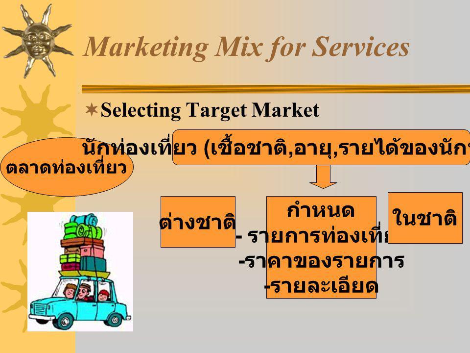 Marketing Mix for Services  Selecting Target Market ตลาดท่องเที่ยว นักท่องเที่ยว ( เชื้อชาติ, อายุ, รายได้ของนักท่องเที่ยว ) กำหนด - รายการท่องเที่ยว - ราคาของรายการ - รายละเอียด ต่างชาติ ในชาติ