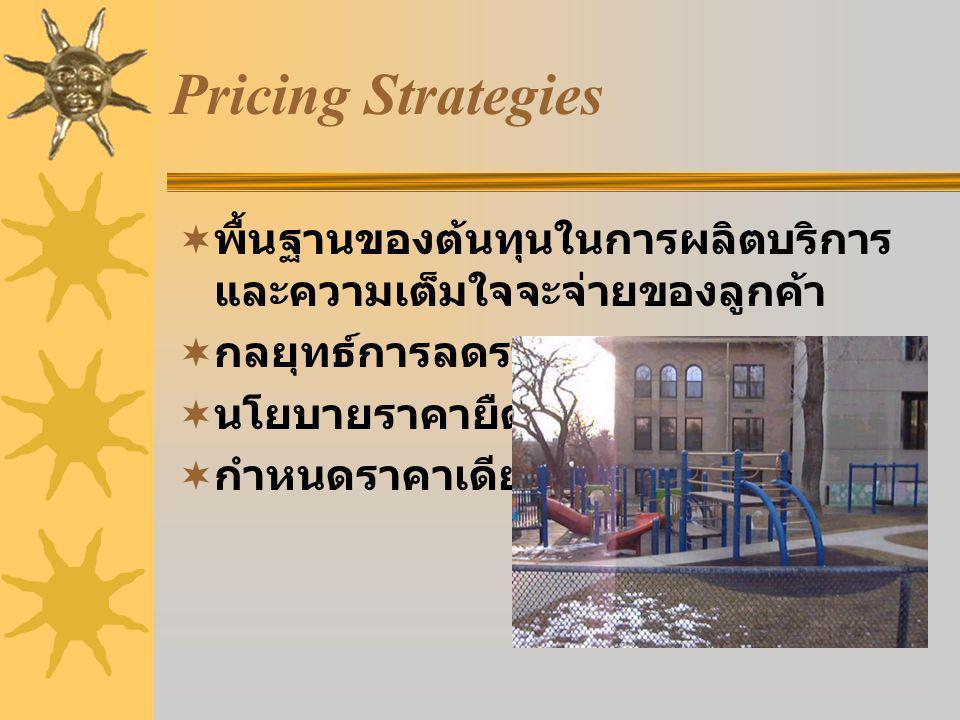 Pricing Strategies  พื้นฐานของต้นทุนในการผลิตบริการ และความเต็มใจจะจ่ายของลูกค้า  กลยุทธ์การลดราคา  นโยบายราคายืดหยุ่น  กำหนดราคาเดียว