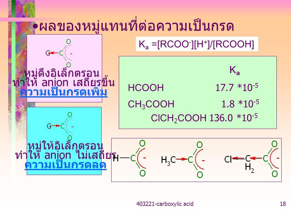 403221-carboxylic acid18 ผลของหมู่แทนที่ต่อความเป็นกรด หมู่ดึงอิเล็กตรอน ทำให้ anion เสถียรขึ้น ความเป็นกรดเพิ่ม หมู่ให้อิเล็กตรอน ทำให้ anion ไม่เสถี
