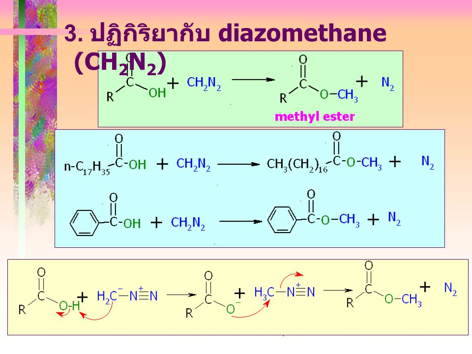 403221-carboxylic acid24 3. ปฏิกิริยากับ diazomethane (CH 2 N 2 )
