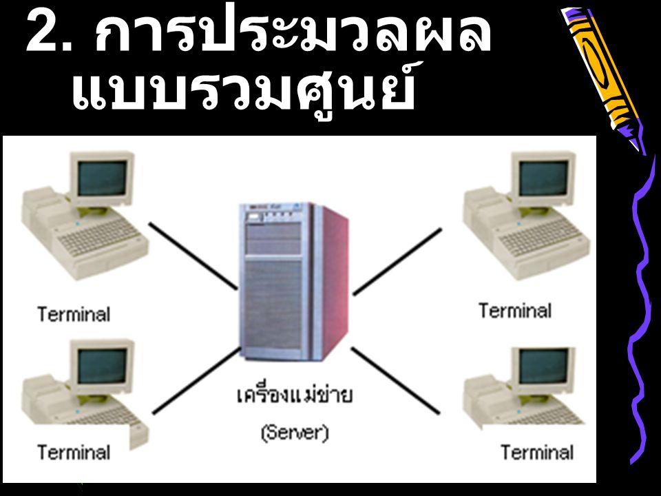 2. การประมวลผล แบบรวมศูนย์ (Centralized Computing)