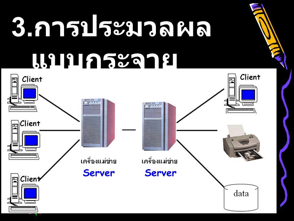 3. การประมวลผล แบบกระจาย (Distributed Computing) Client Server