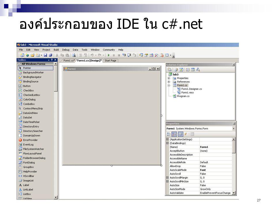 27 องค์ประกอบของ IDE ใน c#.net