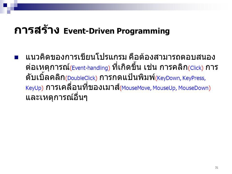 31 การสร้าง Event-Driven Programming แนวคิดของการเขียนโปรแกรม คือต้องสามารถตอบสนอง ต่อเหตุการณ์ (Event-handling) ที่เกิดขึ้น เช่น การคลิก (Click) การ