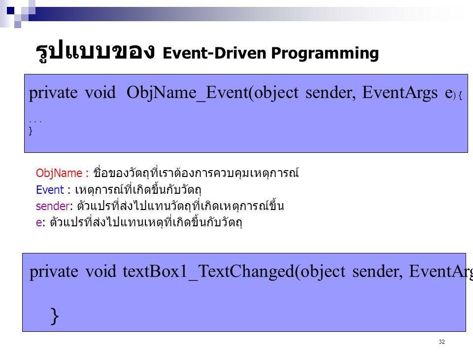 32 รูปแบบของ Event-Driven Programming ObjName : ชื่อของวัตถุที่เราต้องการควบคุมเหตุการณ์ Event : เหตุการณ์ที่เกิดขึ้นกับวัตถุ sender: ตัวแปรที่ส่งไปแท