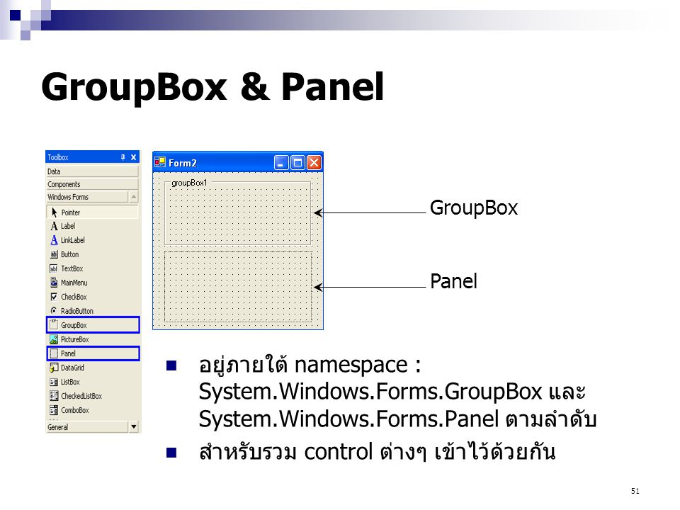 51 GroupBox & Panel อยู่ภายใต้ namespace : System.Windows.Forms.GroupBox และ System.Windows.Forms.Panel ตามลำดับ สำหรับรวม control ต่างๆ เข้าไว้ด้วยกั