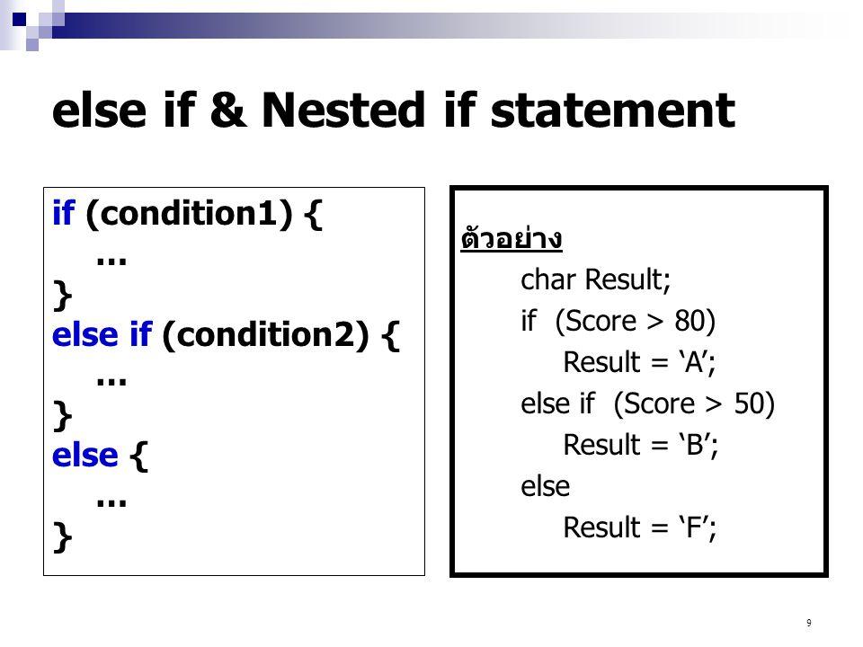 20 เป็นการทำงานซ้ำตามจำนวนครั้งที่กำหนด โดยเริ่มจากค่าแรกไปจนถึงค่าสุดท้าย รูปแบบคำสั่ง for (counter = first value; counter condition; adjust counter value) { … } เช่น for (i=0;i<=10;i++) { … } for statement หมายถึง ให้วนลูปเริ่มตั้งแต่ค่า i=0 ไปเรื่อยๆ ตราบใดที่ค่า i ยังไม่เกิน 10 และให้เพิ่มค่า i ทีละ 1