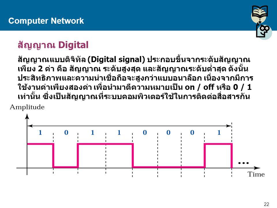 22 Proprietary and Confidential to Accenture Computer Network สัญญาณ Digital สัญญาณแบบดิจิทัล (Digital signal) ประกอบขึ้นจากระดับสัญญาณ เพียง 2 ค่า คื