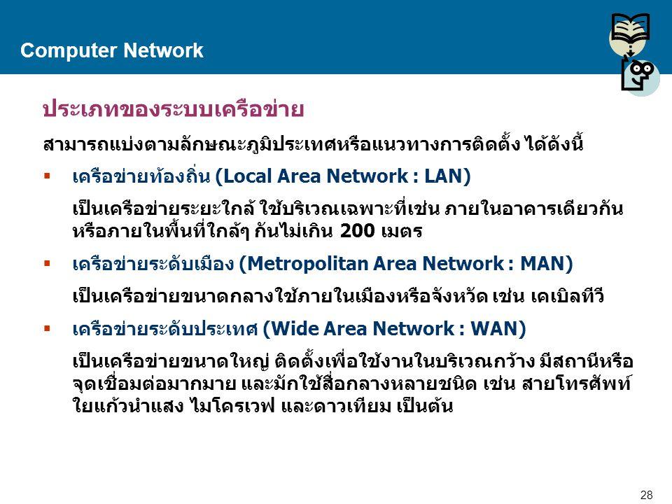 28 Proprietary and Confidential to Accenture Computer Network ประเภทของระบบเครือข่าย สามารถแบ่งตามลักษณะภูมิประเทศหรือแนวทางการติดตั้ง ได้ดังนี้  เคร