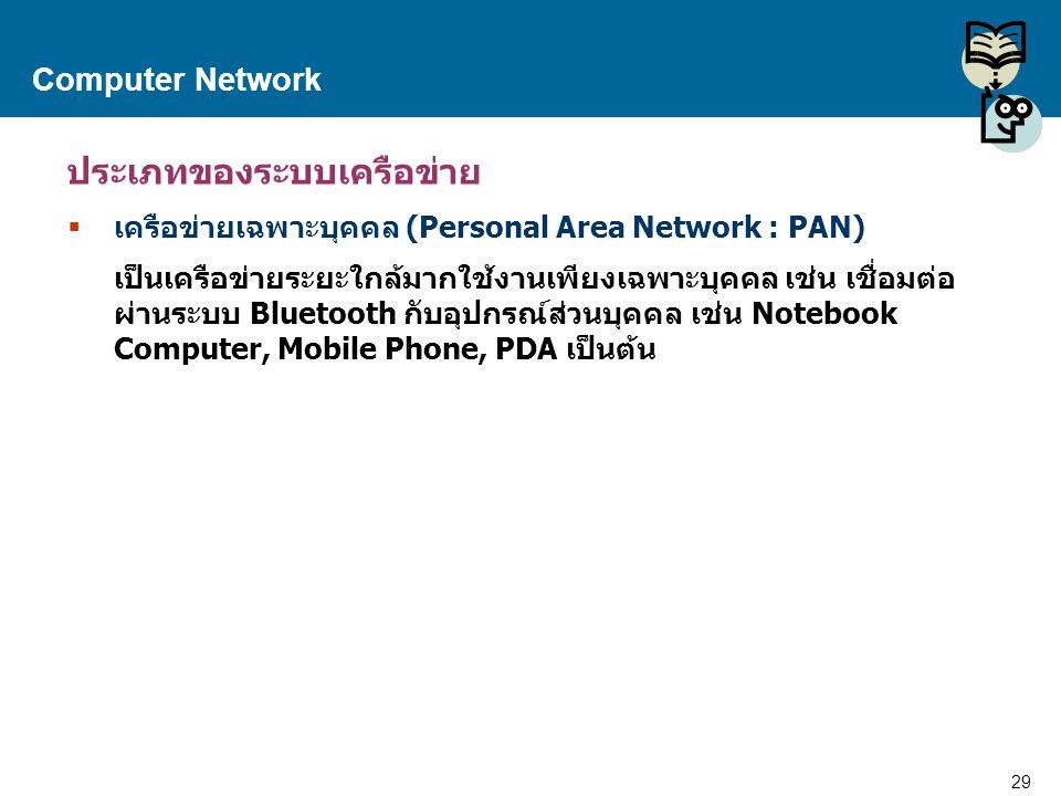 29 Proprietary and Confidential to Accenture Computer Network ประเภทของระบบเครือข่าย  เครือข่ายเฉพาะบุคคล (Personal Area Network : PAN) เป็นเครือข่าย