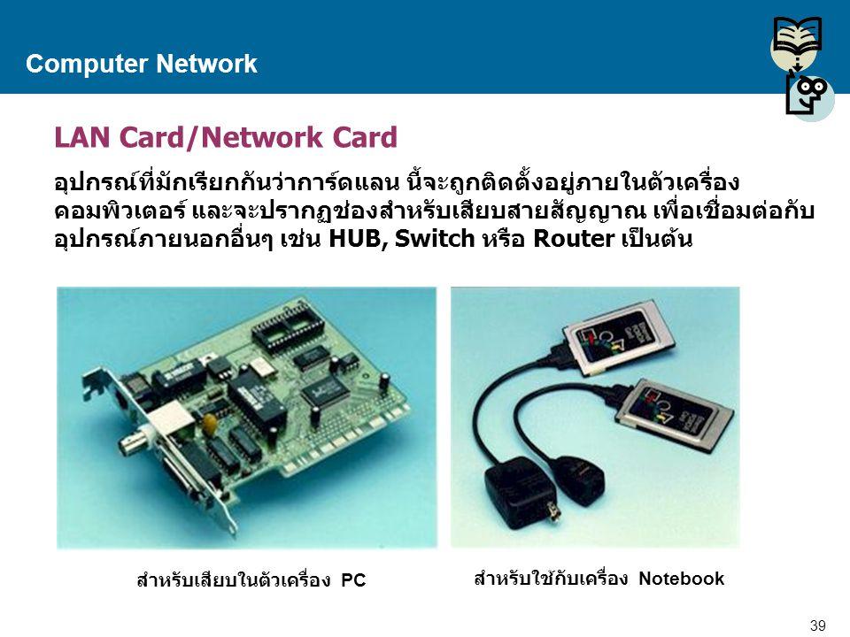 39 Proprietary and Confidential to Accenture Computer Network LAN Card/Network Card อุปกรณ์ที่มักเรียกกันว่าการ์ดแลน นี้จะถูกติดตั้งอยู่ภายในตัวเครื่อ