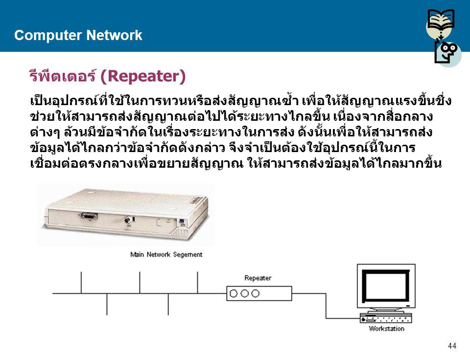 44 Proprietary and Confidential to Accenture Computer Network รีพีตเตอร์ (Repeater) เป็นอุปกรณ์ที่ใช้ในการทวนหรือส่งสัญญาณซ้ำ เพื่อให้สัญญาณแรงขึ้นชึ่
