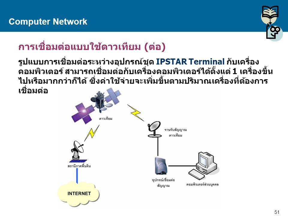 51 Proprietary and Confidential to Accenture Computer Network การเชื่อมต่อแบบใช้ดาวเทียม (ต่อ) รูปแบบการเชื่อมต่อระหว่างอุปกรณ์ชุด IPSTAR Terminal กับ