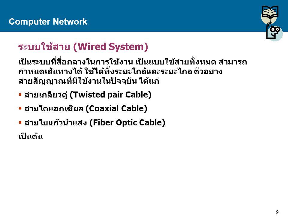 9 Proprietary and Confidential to Accenture Computer Network ระบบใช้สาย (Wired System) เป็นระบบที่สื่อกลางในการใช้งาน เป็นแบบใช้สายทั้งหมด สามารถ กำหน