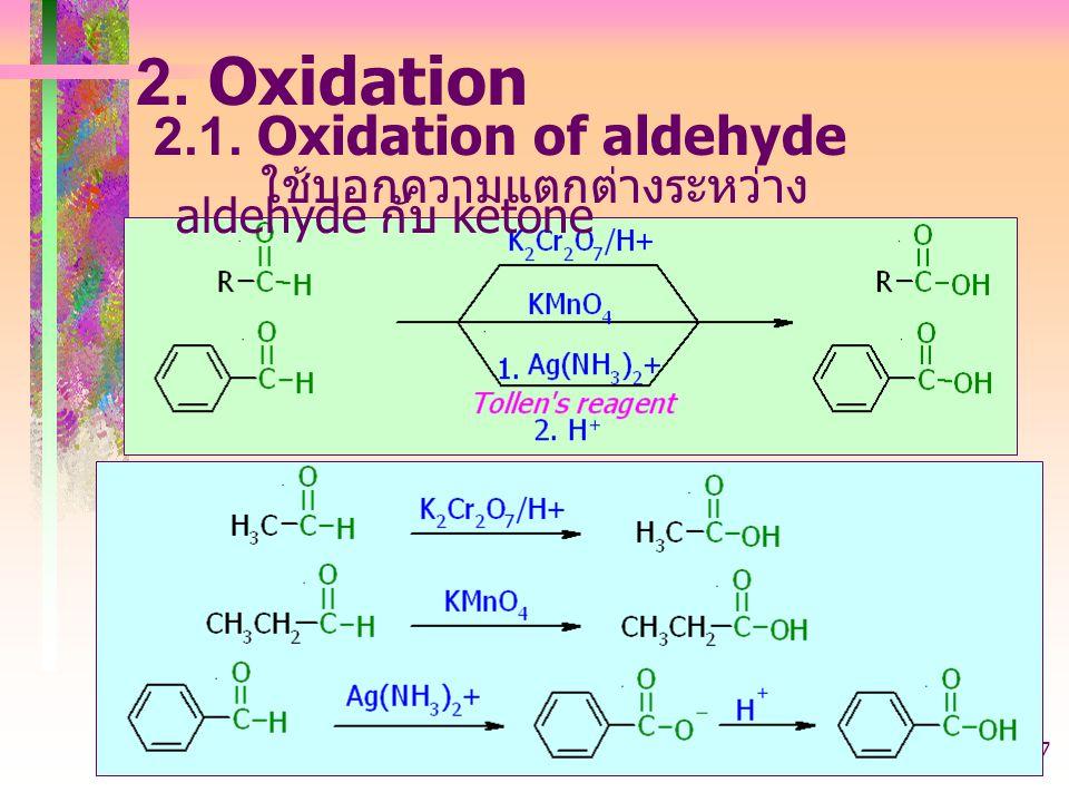 403221-aldehyde37 2. Oxidation 2.1. Oxidation of aldehyde ใช้บอกความแตกต่างระหว่าง aldehyde กับ ketone