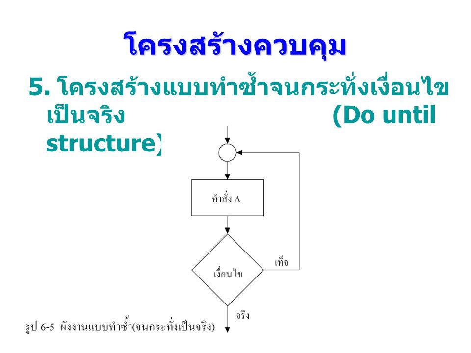 โครงสร้างควบคุม 5. โครงสร้างแบบทําซํ้าจนกระทั่งเงื่อนไข เป็นจริง (Do until structure)