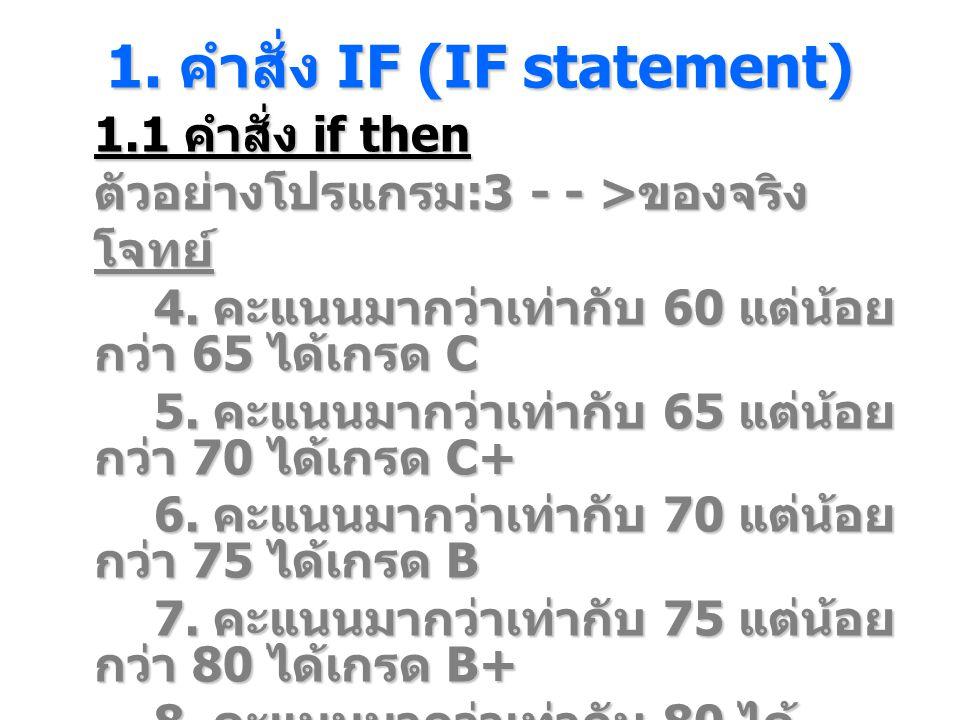 1. คําสั่ง IF (IF statement) 1.1 คำสั่ง if then ตัวอย่างโปรแกรม :3 - - > ของจริง โจทย์ 4. คะแนนมากว่าเท่ากับ 60 แต่น้อย กว่า 65 ได้เกรด C 5. คะแนนมากว