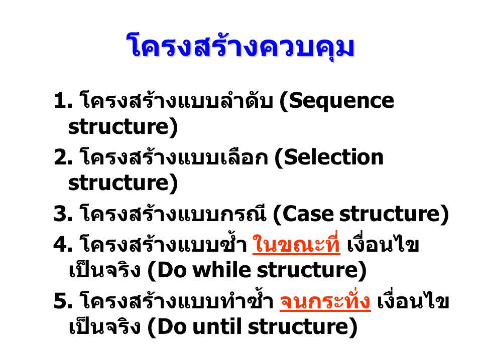 โครงสร้างควบคุม 1. โครงสร้างแบบลําดับ (Sequence structure) 2. โครงสร้างแบบเลือก (Selection structure) 3. โครงสร้างแบบกรณี (Case structure) 4. โครงสร้า