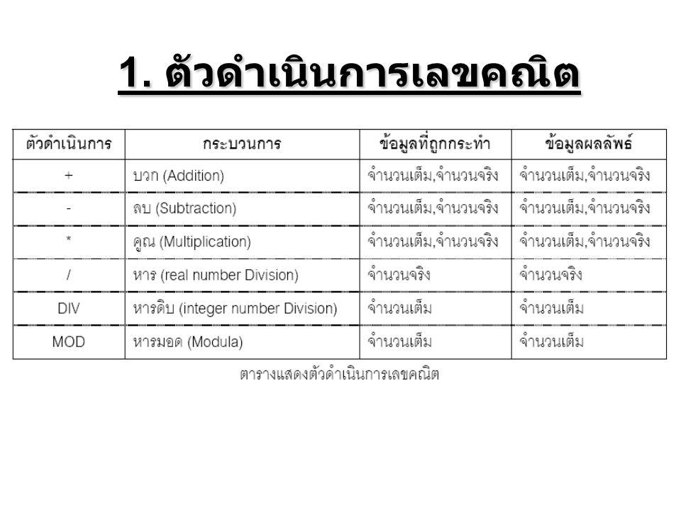 1. ตัวดําเนินการเลขคณิต