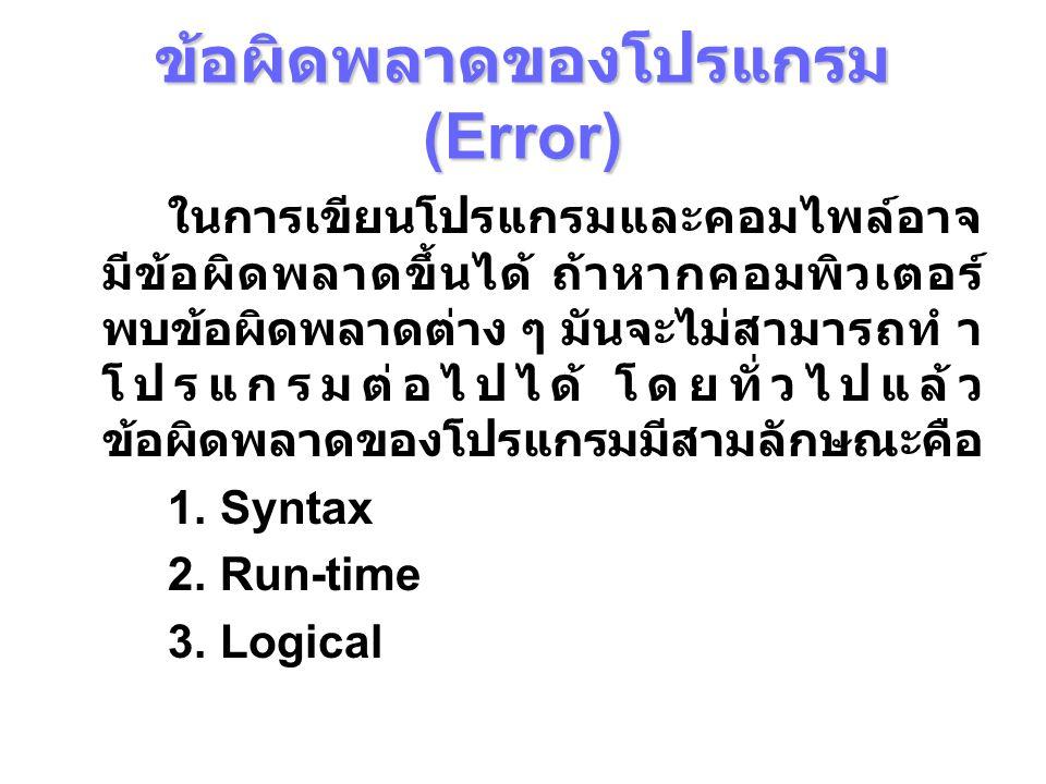 ข้อผิดพลาดของโปรแกรม (Error)  Syntax Error ข้อผิดพลาดประเภทนี้เกิดจากการเขียน โปรแกรมไม่เป็นไปตามข้อกําหนด เช่น 1.