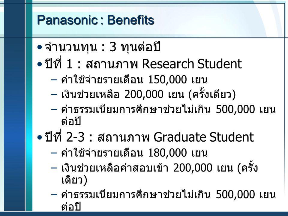 Panasonic : Benefits จำนวนทุน : 3 ทุนต่อปี ปีที่ 1 : สถานภาพ Research Student – ค่าใช้จ่ายรายเดือน 150,000 เยน – เงินช่วยเหลือ 200,000 เยน ( ครั้งเดีย