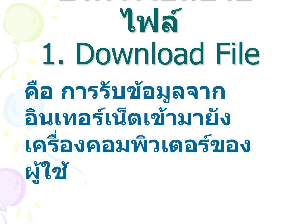 บริการโอนย้าย ไฟล์ 1. Download File บริการโอนย้าย ไฟล์ 1. Download File คือ การรับข้อมูลจาก อินเทอร์เน็ตเข้ามายัง เครื่องคอมพิวเตอร์ของ ผู้ใช้