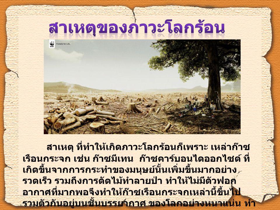 สภาพลมฟ้าอากาศที่ผิดแปลก ไปจากเดิม ภัยธรรมชาติที่รุนแรงมากขึ้น น้ำท่วม แผ่นดินไหว พายุที่ รุนแรง อากาศที่ร้อนผิดปกติจนมีคน เสียชีวิต โรคระบาดชนิดใหม่ๆ ที่เกิดขึ้น พาหะนำโรคที่มีมากขึ้น