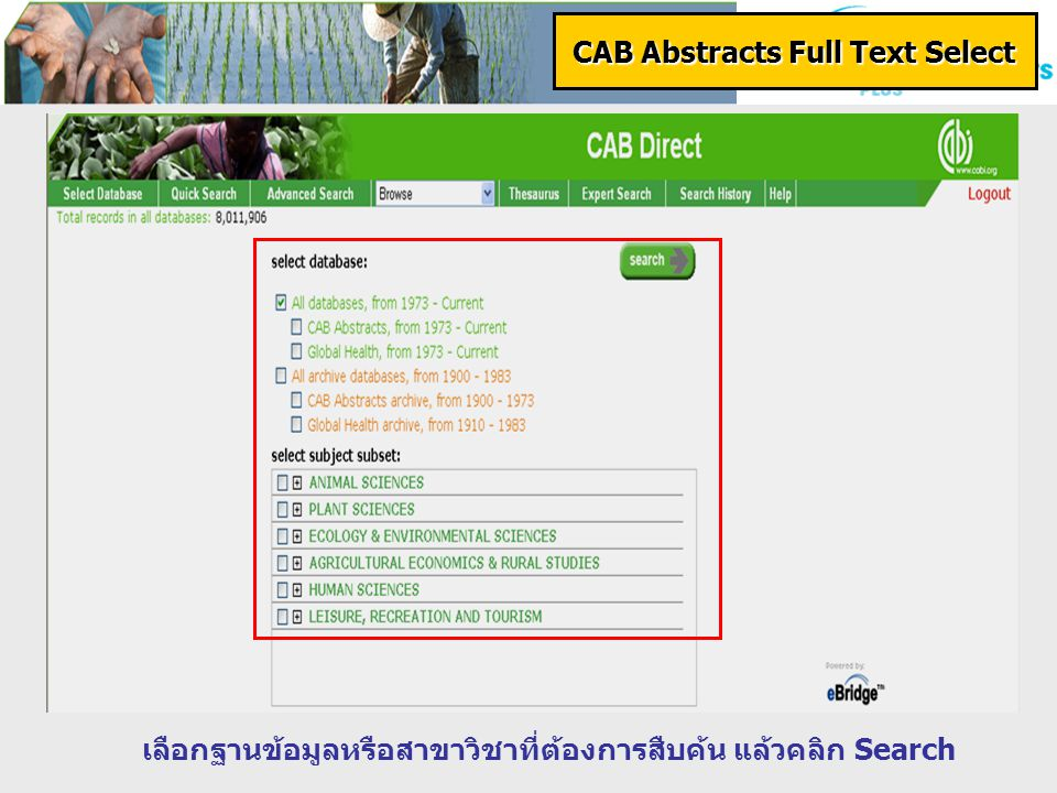 CAB Reviews : Perspectives in Agriculture, Veterinary Science, Nutrition and Natural Resources CAB Reviews : Perspectives in Agriculture, Veterinary Science, Nutrition and Natural Resources เป็นฐานข้อมูลที่รวบรวมข้อมูลทางด้าน Animal Science, Veterinary medicine, Applied plant sciences, Agriculture, Nutrition and food science, Natural resources and environment sciences เป็นเอกสารประเภท Reviews ตั้งแต่ปี 2003 กว่า 169 รายการ เข้าสู่ฐานที่ : www.cababstractsplus.org/CABReviews เป็นฐานข้อมูลที่รวบรวมข้อมูลทางด้าน Animal Science, Veterinary medicine, Applied plant sciences, Agriculture, Nutrition and food science, Natural resources and environment sciences เป็นเอกสารประเภท Reviews ตั้งแต่ปี 2003 กว่า 169 รายการ เข้าสู่ฐานที่ : www.cababstractsplus.org/CABReviews