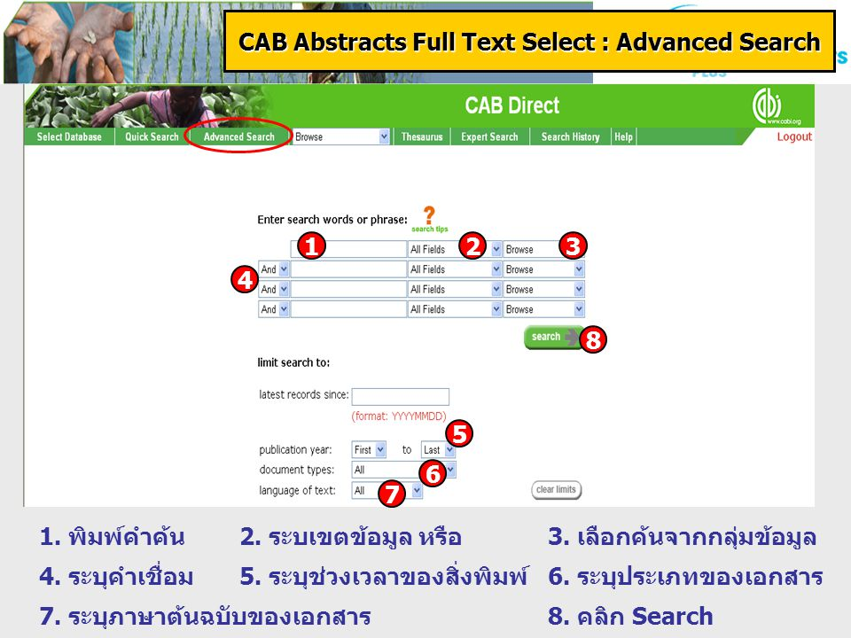 CAB Abstracts Full Text Select : Advanced Search 1.