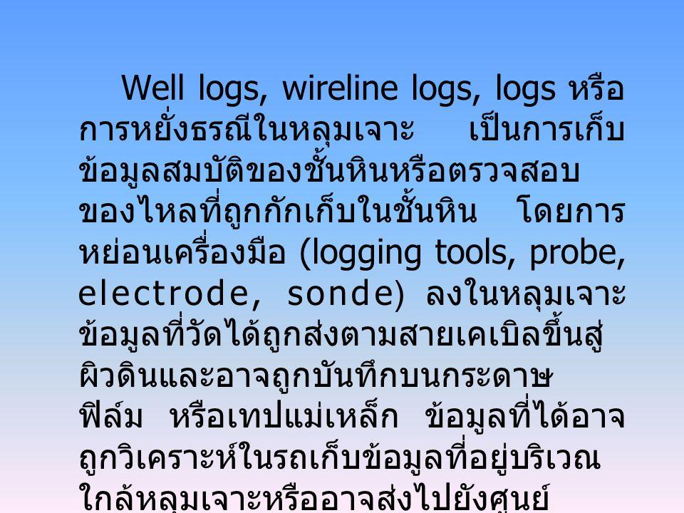 Well logs, wireline logs, logs หรือ การหยั่งธรณีในหลุมเจาะ เป็นการเก็บ ข้อมูลสมบัติของชั้นหินหรือตรวจสอบ ของไหลที่ถูกกักเก็บในชั้นหิน โดยการ หย่อนเครื่องมือ (logging tools, probe, electrode, sonde) ลงในหลุมเจาะ ข้อมูลที่วัดได้ถูกส่งตามสายเคเบิลขึ้นสู่ ผิวดินและอาจถูกบันทึกบนกระดาษ ฟิล์ม หรือเทปแม่เหล็ก ข้อมูลที่ได้อาจ ถูกวิเคราะห์ในรถเก็บข้อมูลที่อยู่บริเวณ ใกล้หลุมเจาะหรืออาจส่งไปยังศูนย์ วิเคราะห์ข้อมูลผ่านทางสายโทรศัพท์ ทางคลื่นวิทยุ หรือระบบดาวเทียม การ หยั่งธรณีในหลุมเจาะจะกระทำทันทีที่ เสร็จสิ้นขบวนการเจาะ