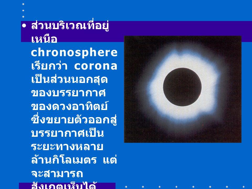 ส่วนบริเวณที่อยู่ เหนือ chronosphere เรียกว่า corona เป็นส่วนนอกสุด ของบรรยากาศ ของดวงอาทิตย์ ซึ่งขยายตัวออกสู่ บรรยากาศเป็น ระยะทางหลาย ล้านกิโลเมตร แต่ จะสามารถ สังเกตเห็นได้ เฉพาะเมื่อเกิด สุริยุปราคา (eclipse) อุณหภูมิบริเวณ corona ประมาณ 1,000,000 K