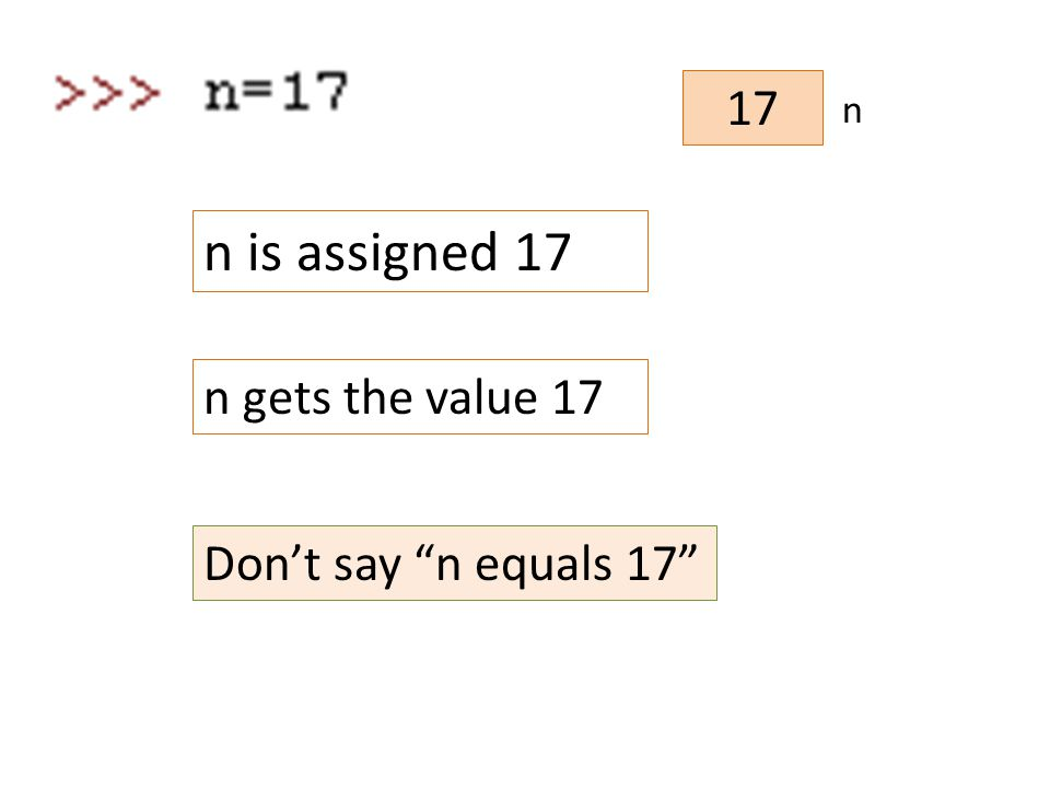17 n n is assigned 17 n gets the value 17 Don't say n equals 17