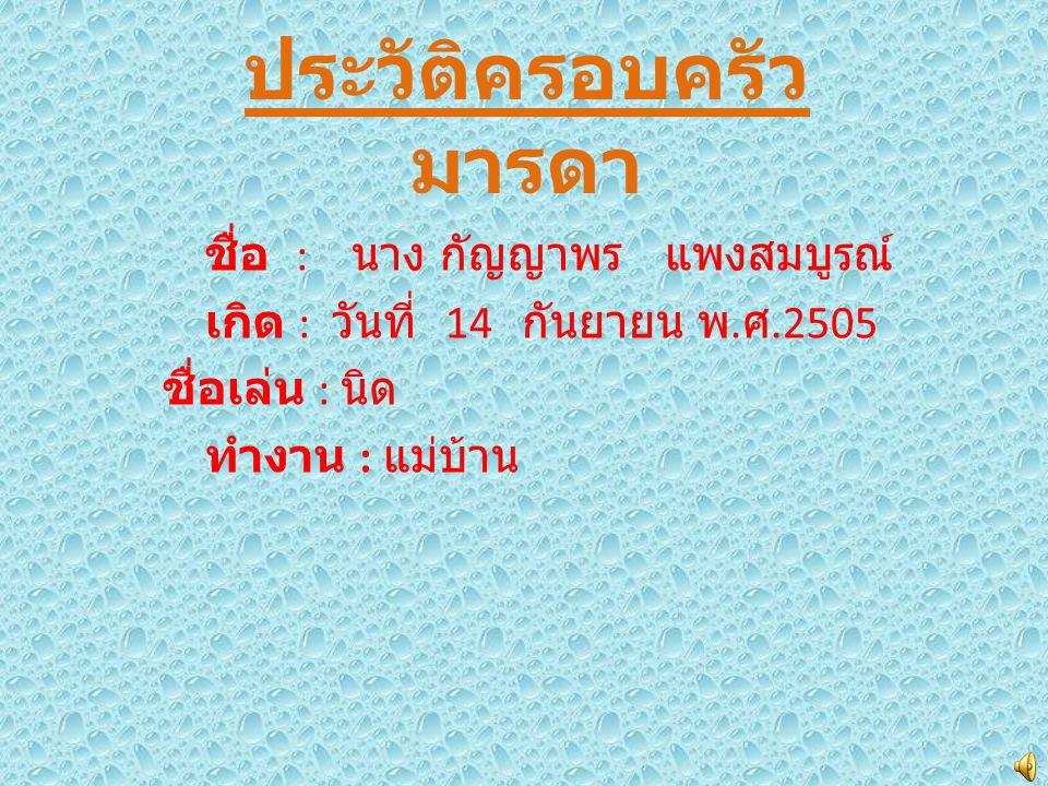 ประวัติครอบครัว มารดา ชื่อ : นาง กัญญาพร แพงสมบูรณ์ เกิด : วันที่ 14 กันยายน พ. ศ.2505 ชื่อเล่น : นิด ทำงาน : แม่บ้าน