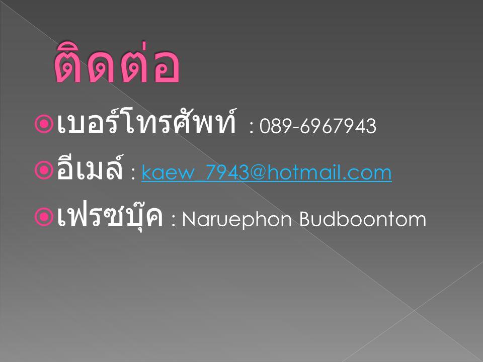  เบอร์โทรศัพท์ : 089-6967943  อีเมล์ : kaew_7943@hotmail.comkaew_7943@hotmail.com  เฟรซบุ๊ค : Naruephon Budboontom