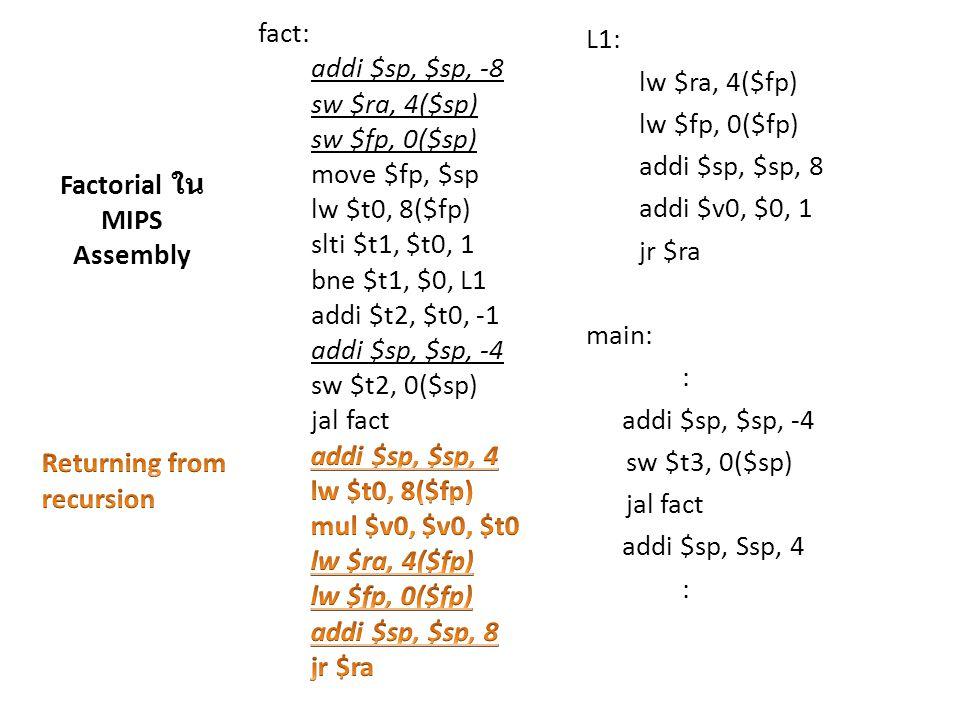 fact: addi $sp, $sp, -8 sw $ra, 4($sp) sw $fp, 0($sp) move $fp, $sp lw $t0, 8($fp) slti $t1, $t0, 1 bne $t1, $0, L1 addi $t2, $t0, -1 addi $sp, $sp, -4 sw $t2, 0($sp) jal fact B: addi $sp, $sp, 4 lw $t0, 8($fp) mul $v0, $v0, $t0 lw $ra, 4($fp) lw $fp, 0($fp) addi $sp, $sp, 8 jr $ra L1: lw $ra, 4($fp) lw $fp, 0($fp) addi $sp, $sp, 8 addi $v0, $0, 1 jr $ra main: : addi $sp, $sp, -4 sw $t3, 0($sp) jal fact A: addi $sp, Ssp, 4 : 3 A: $fp (main) $fp (fact(3)) 2 B: $fp (fact(3)) $fp (fact(2)) 1 B: $fp (fact(2)) $fp (fact(1)) 0 B: $fp (fact(1)) $fp (fact(0)) การเติบโตของ stack สำหรับ fact(3)
