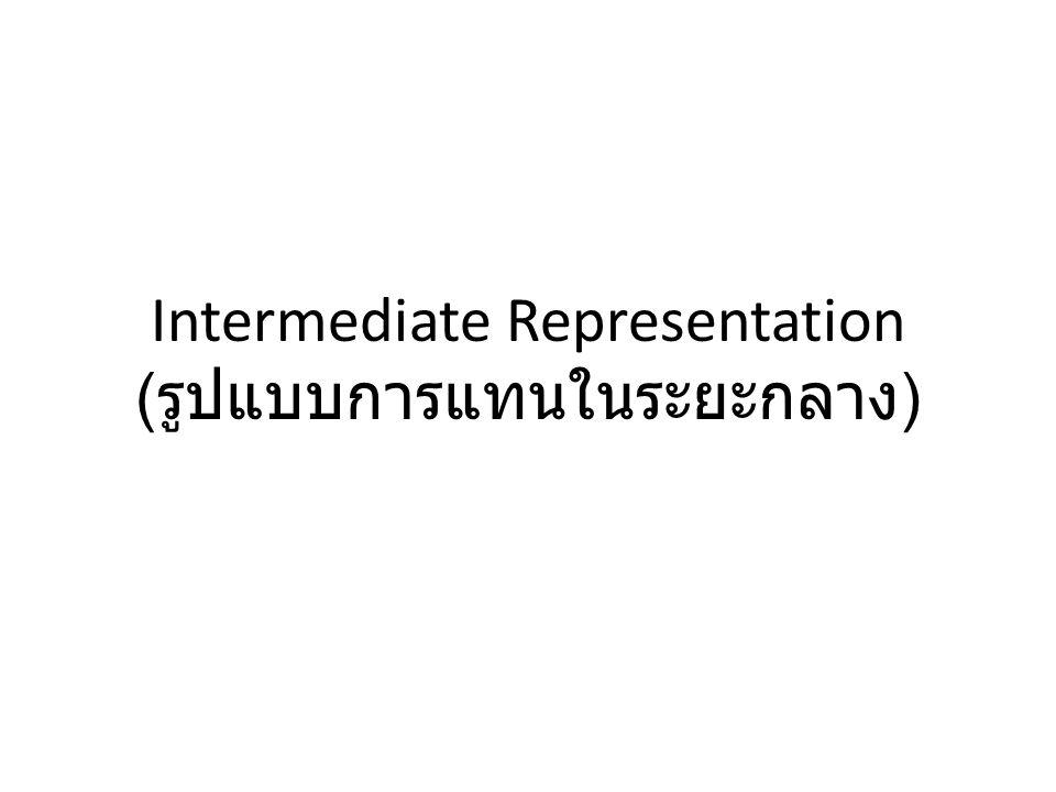Intermediate Representation ( รูปแบบการแทนในระยะกลาง )