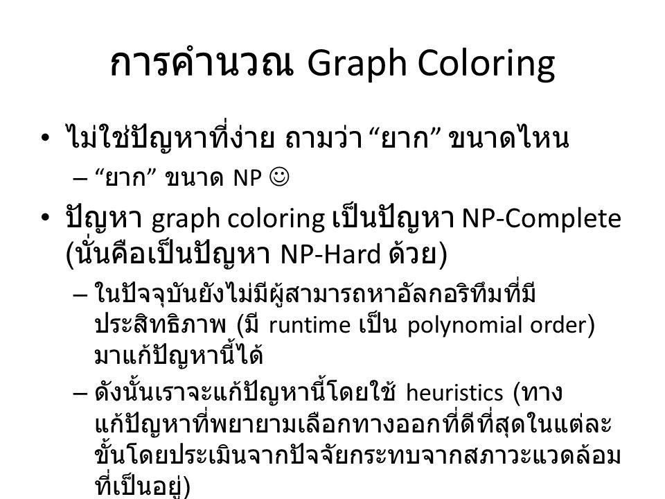 """การคำนวณ Graph Coloring ไม่ใช่ปัญหาที่ง่าย ถามว่า """" ยาก """" ขนาดไหน – """" ยาก """" ขนาด NP ปัญหา graph coloring เป็นปัญหา NP-Complete ( นั่นคือเป็นปัญหา NP-H"""